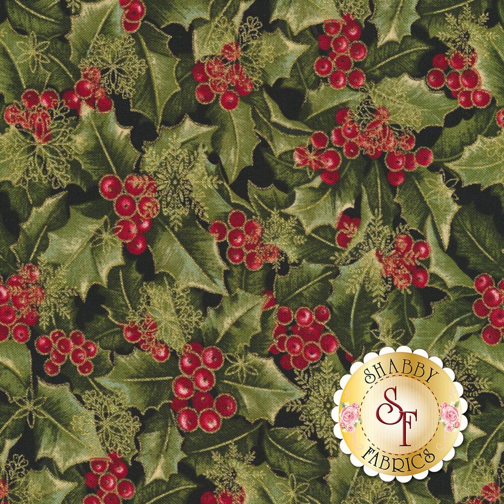 Holly and metallic snowflakes | Shabby Fabrics