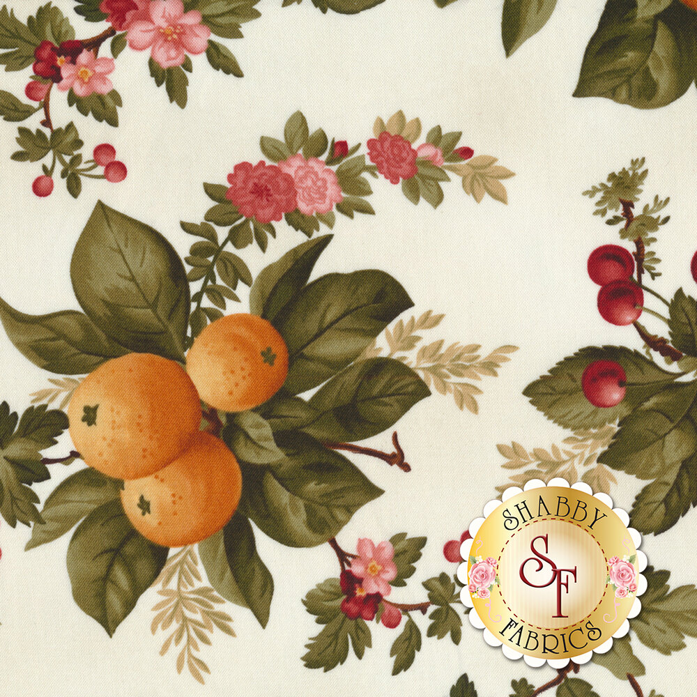 Oranges, cherries, and beautiful flowers on a white background | Shabby Fabrics