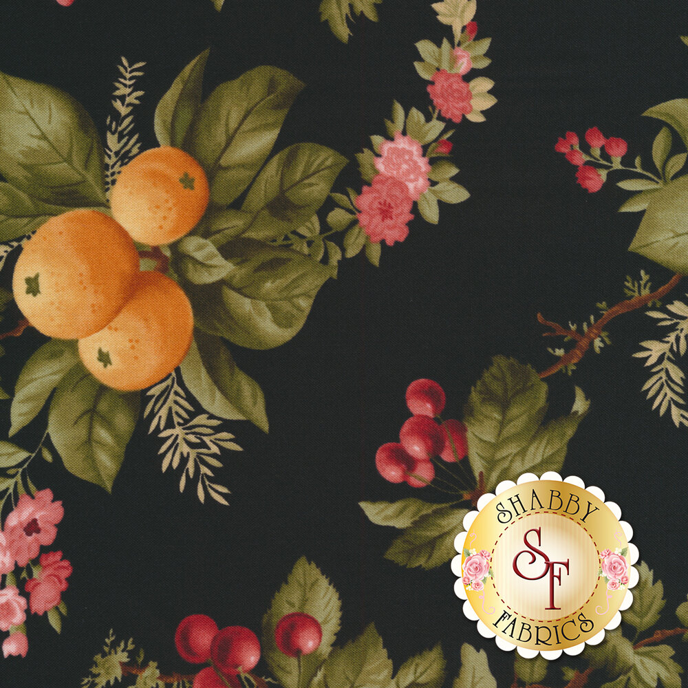 Oranges, cherries, and beautiful flowers on a black background | Shabby Fabrics