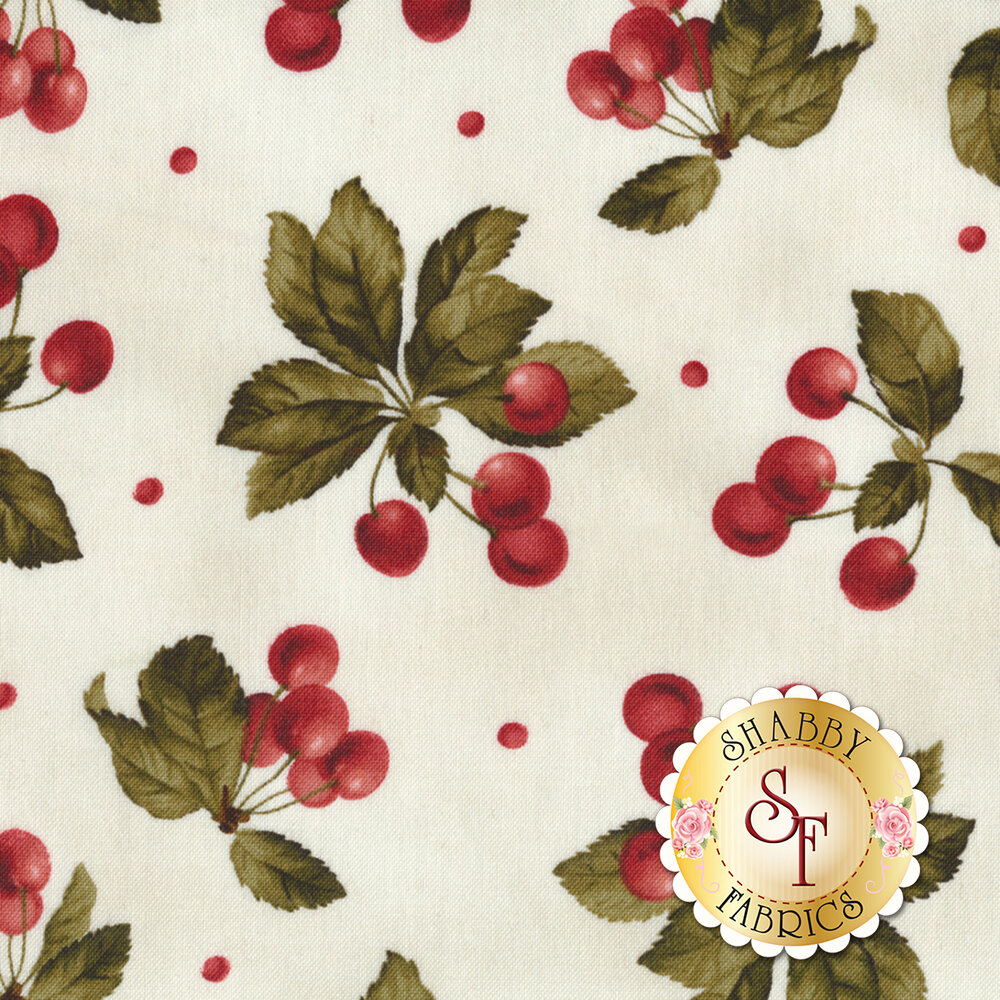 Beautiful cherry bunches on a white background | Shabby Fabrics