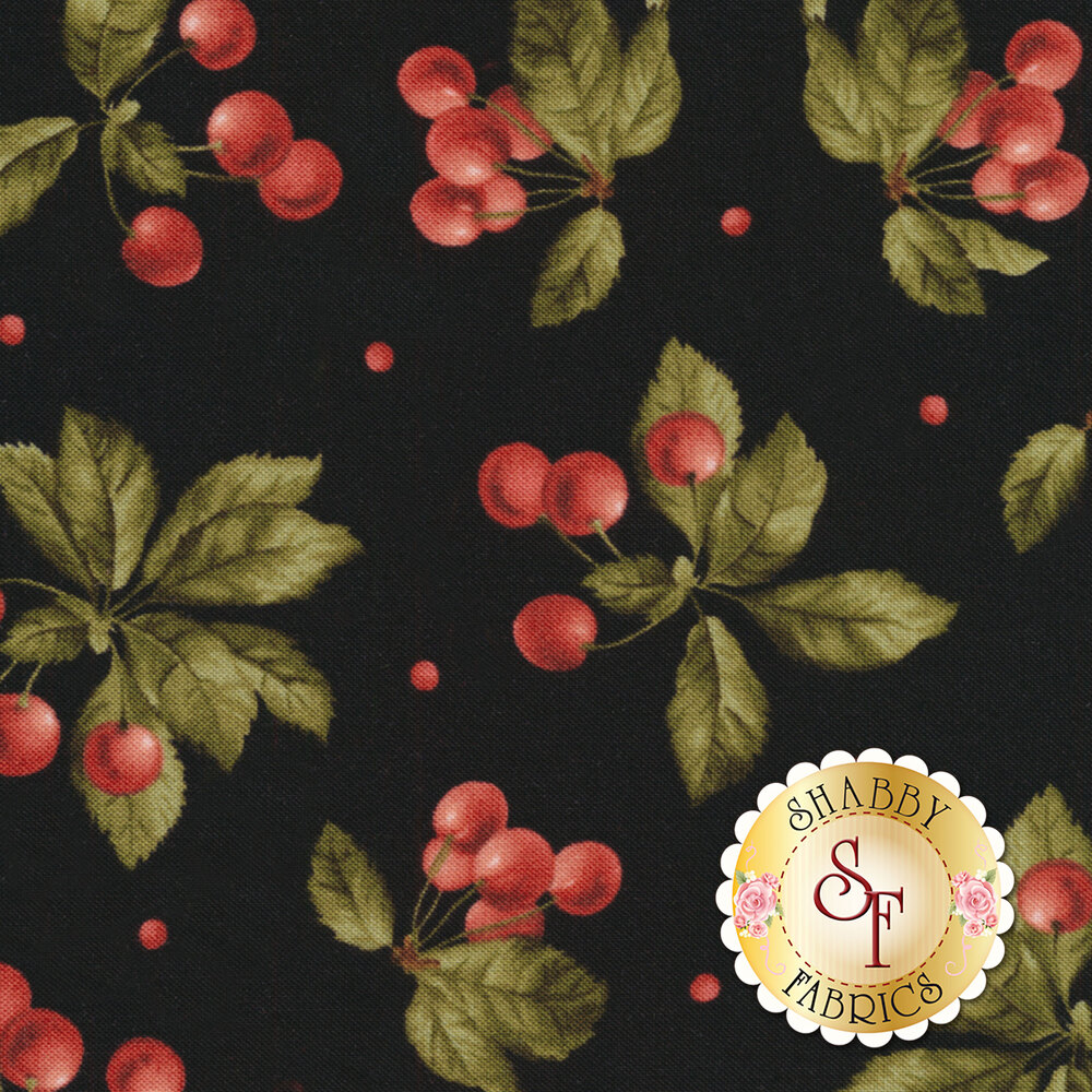 Beautiful tossed cherry bunches on a black background | Shabby Fabrics