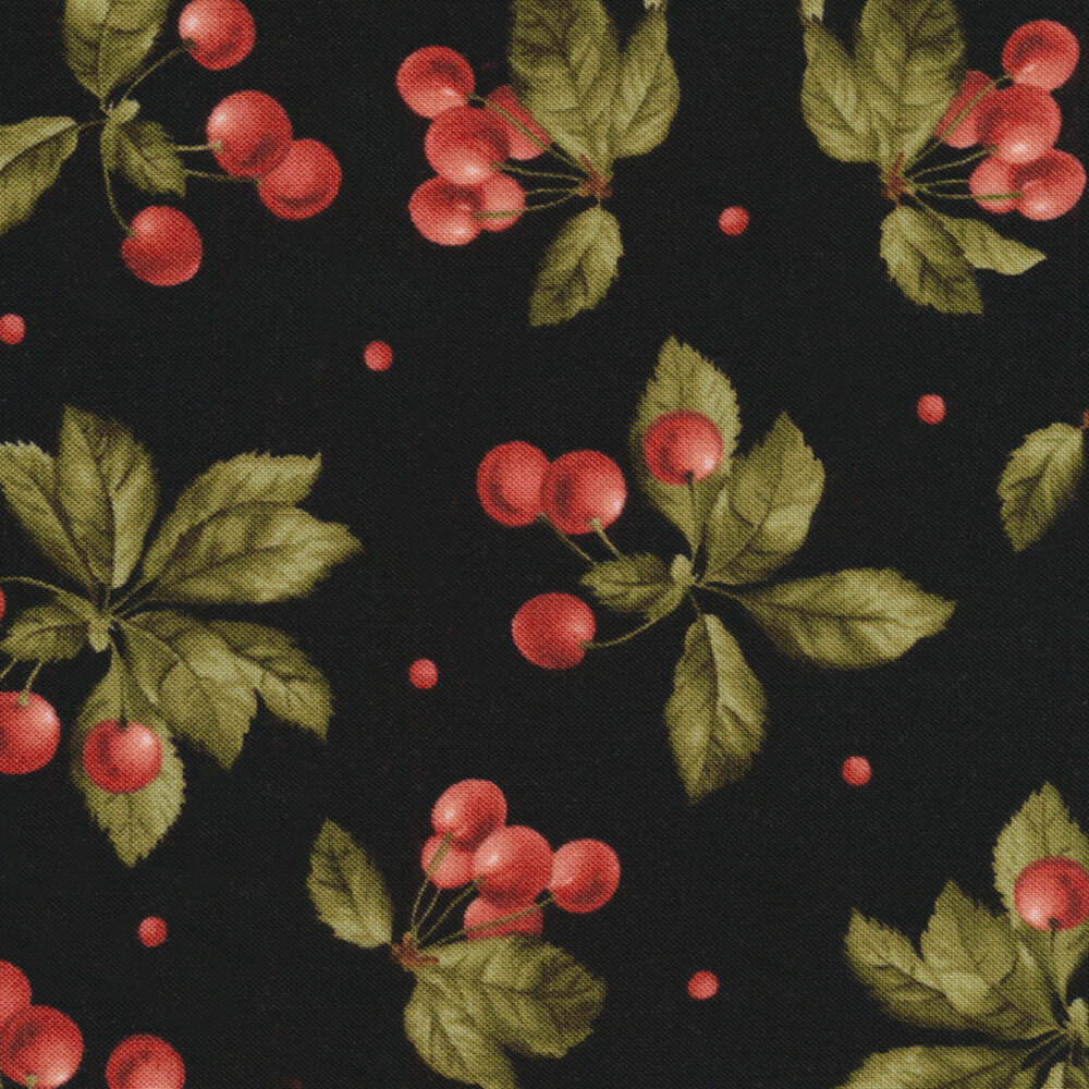 Beautiful tossed cherry bunches on a black background   Shabby Fabrics