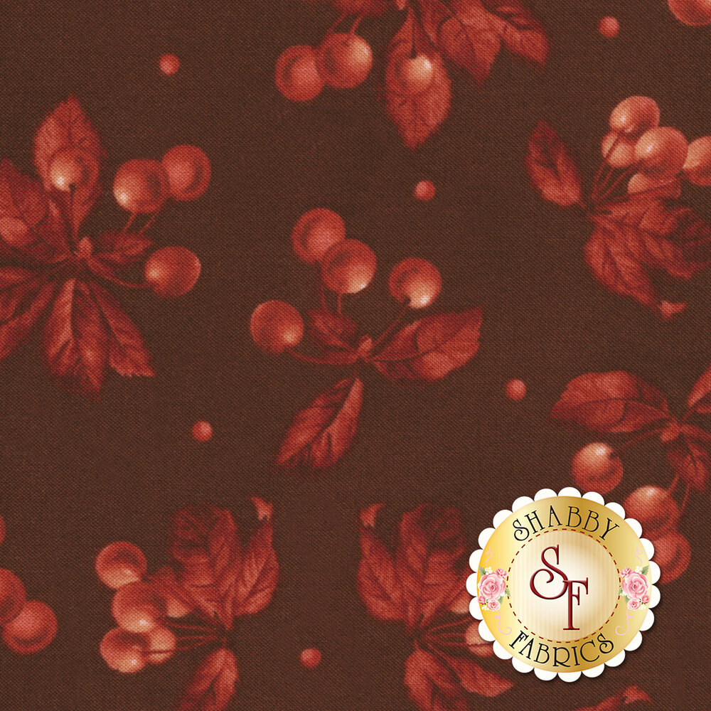 Beautiful tossed tonal cherries on a red background | Shabby Fabrics