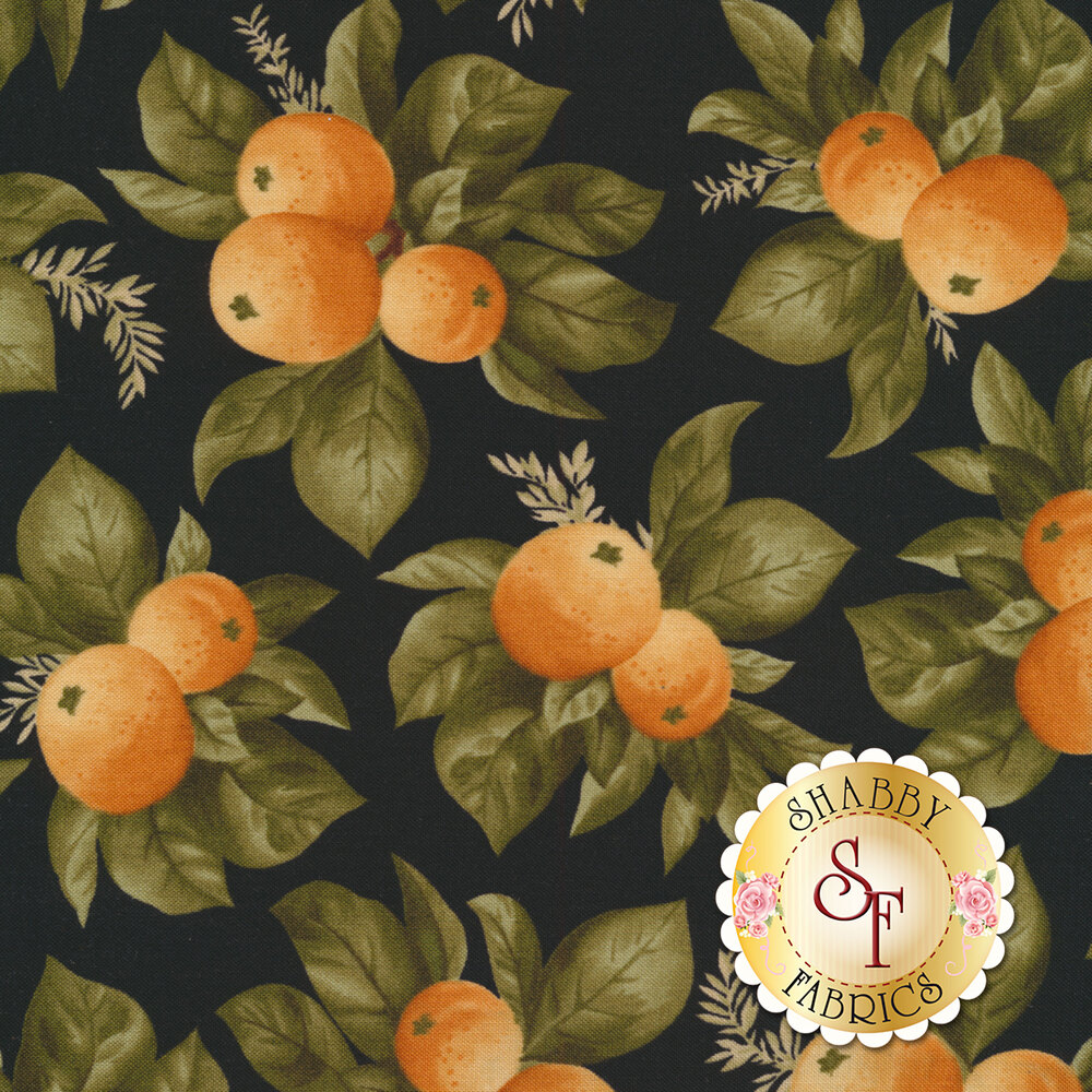 Bunches of oranges and leaves on a black background | Shabby Fabrics