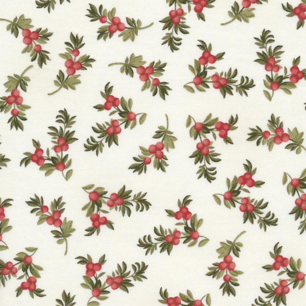 Berry branches on a white background | Shabby Fabrics