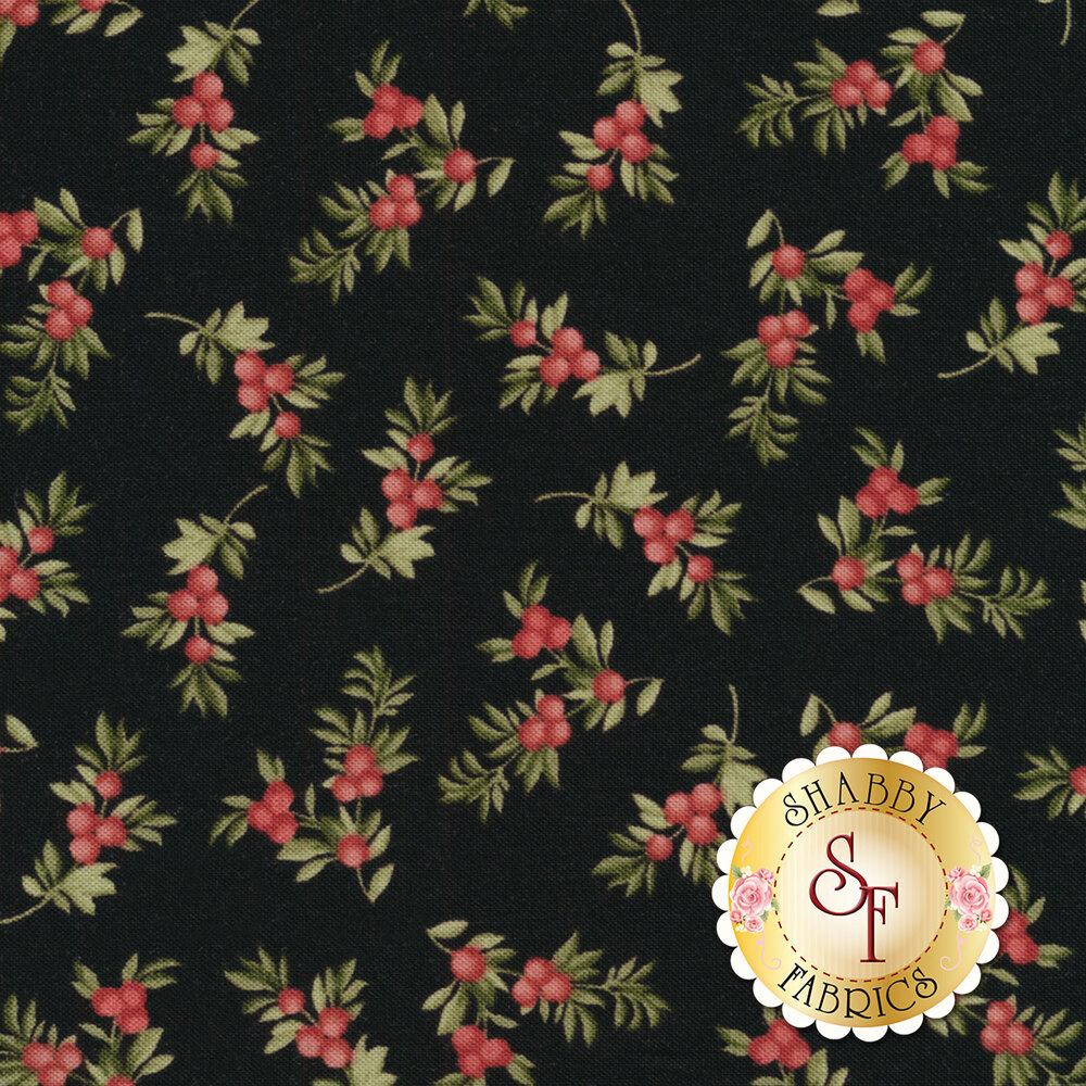 Beautiful berry branches on a black background | Shabby Fabrics