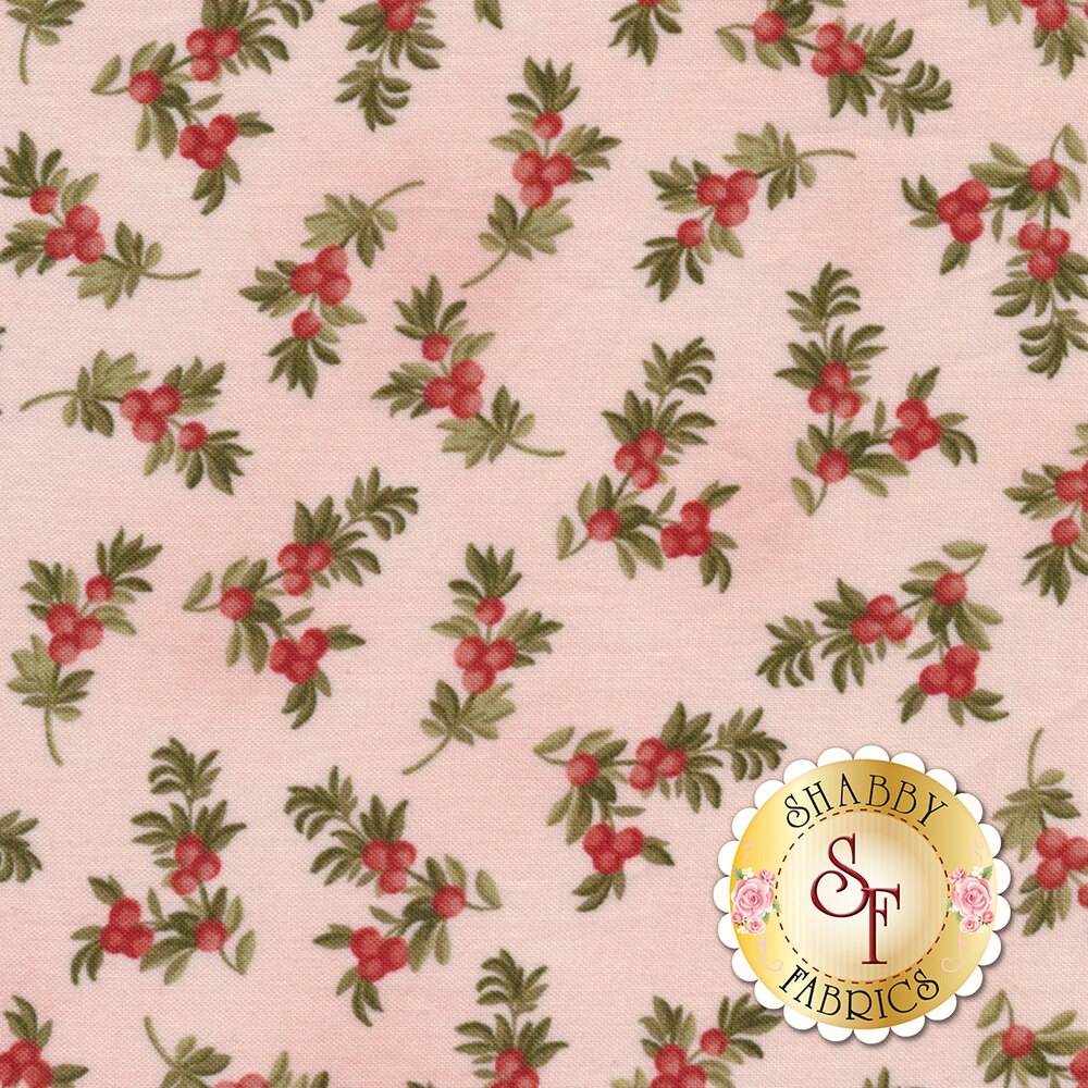 Beautiful berry branches on a pink background | Shabby Fabrics