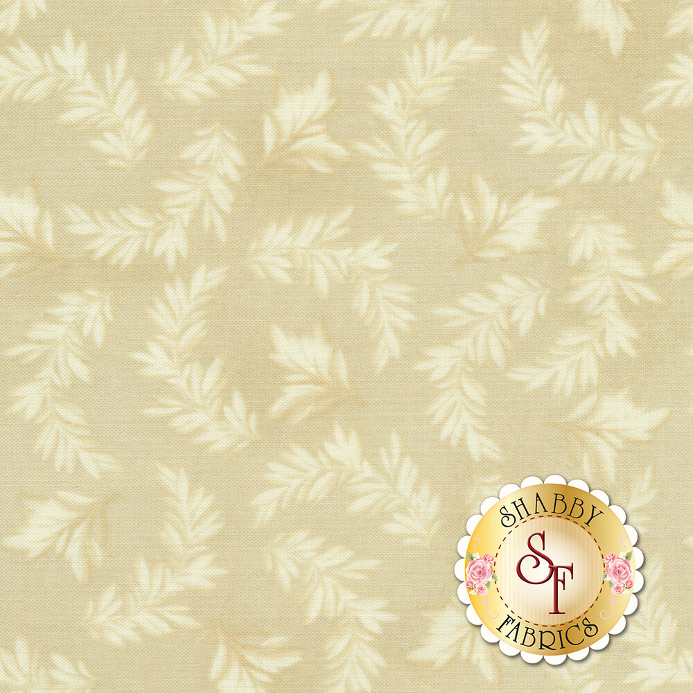 Beautiful tonal leaves on a cream background | Shabby Fabrics