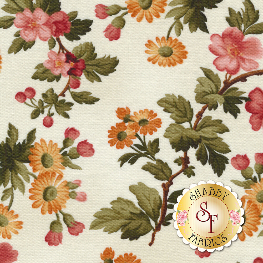 Colorful flower blossoms on a white background | Shabby Fabrics