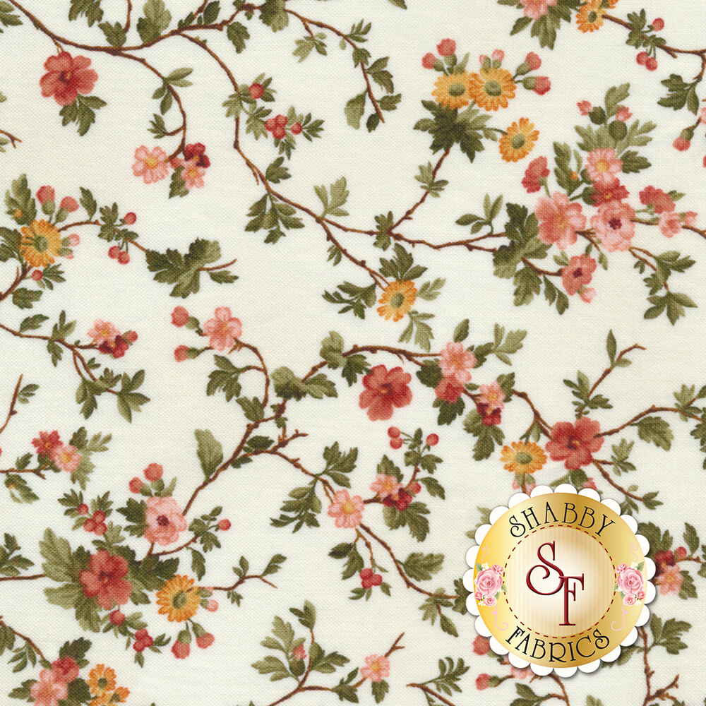 Branching flower bunches on a white background | Shabby Fabrics