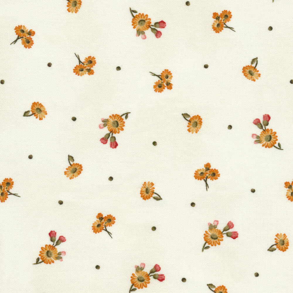 Tiny tossed daisies on a white background | Shabby Fabrics