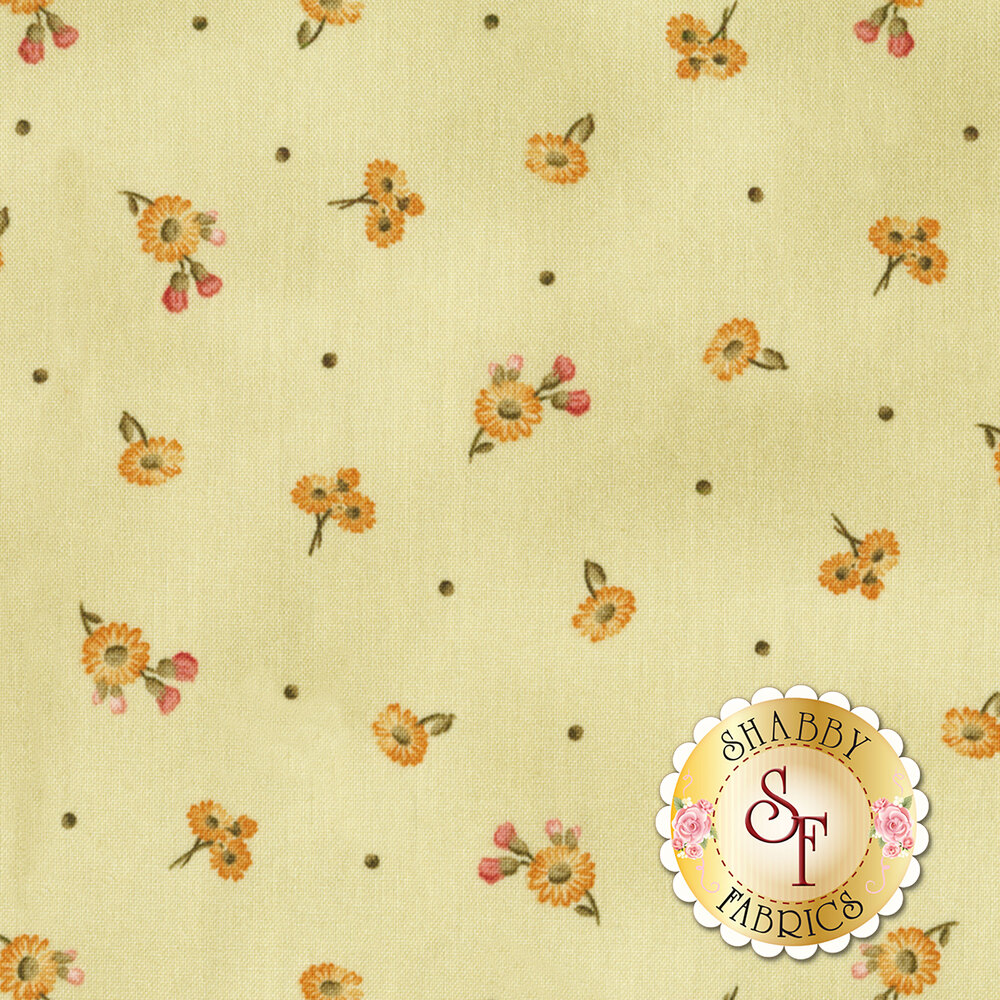Tiny tossed daisies on a mottled beige background | Shabby Fabrics