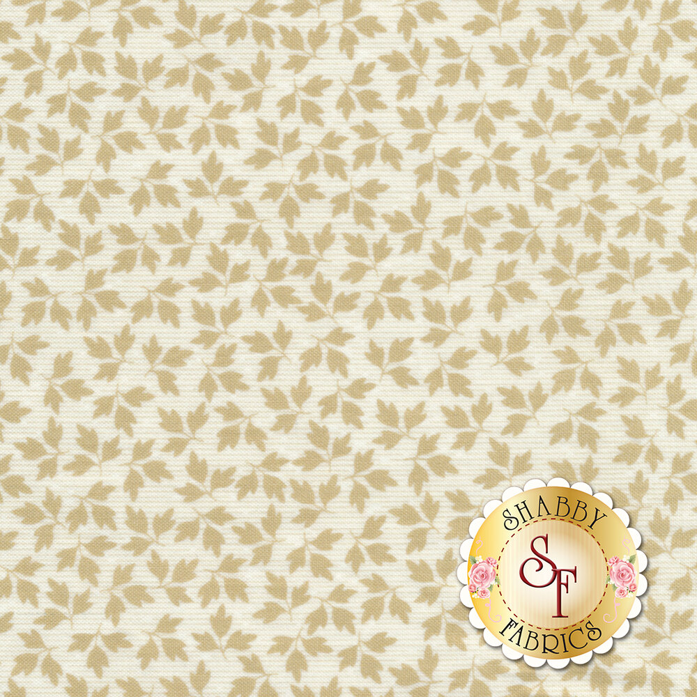 Tossed tonal cream autumn leaves | Shabby Fabrics