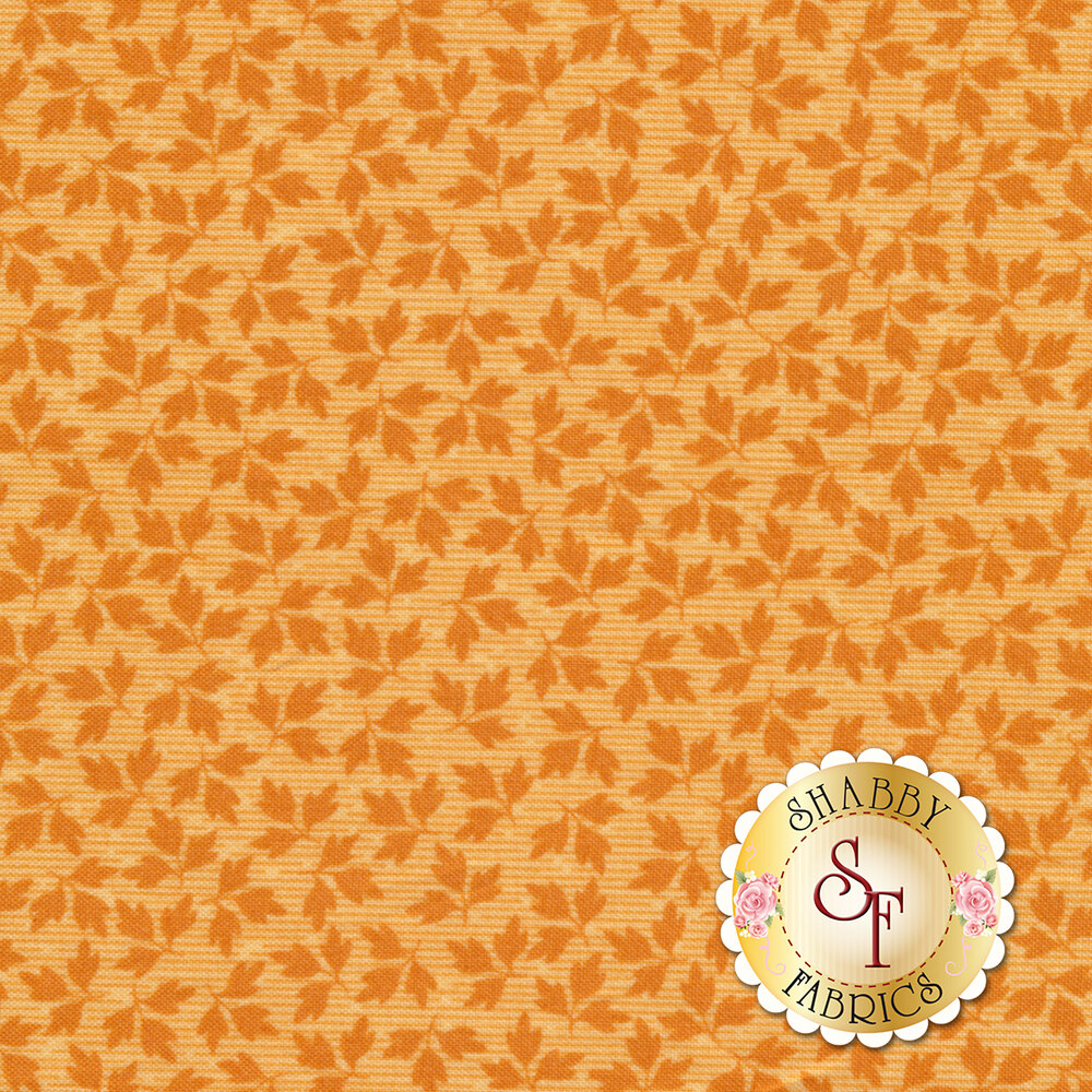 Orange tonal tossed autumn leaves | Shabby Fabrics