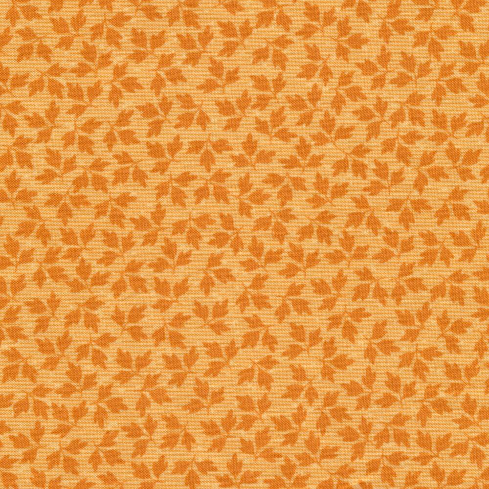 Orange tonal tossed autumn leaves | Shabby Fabrics