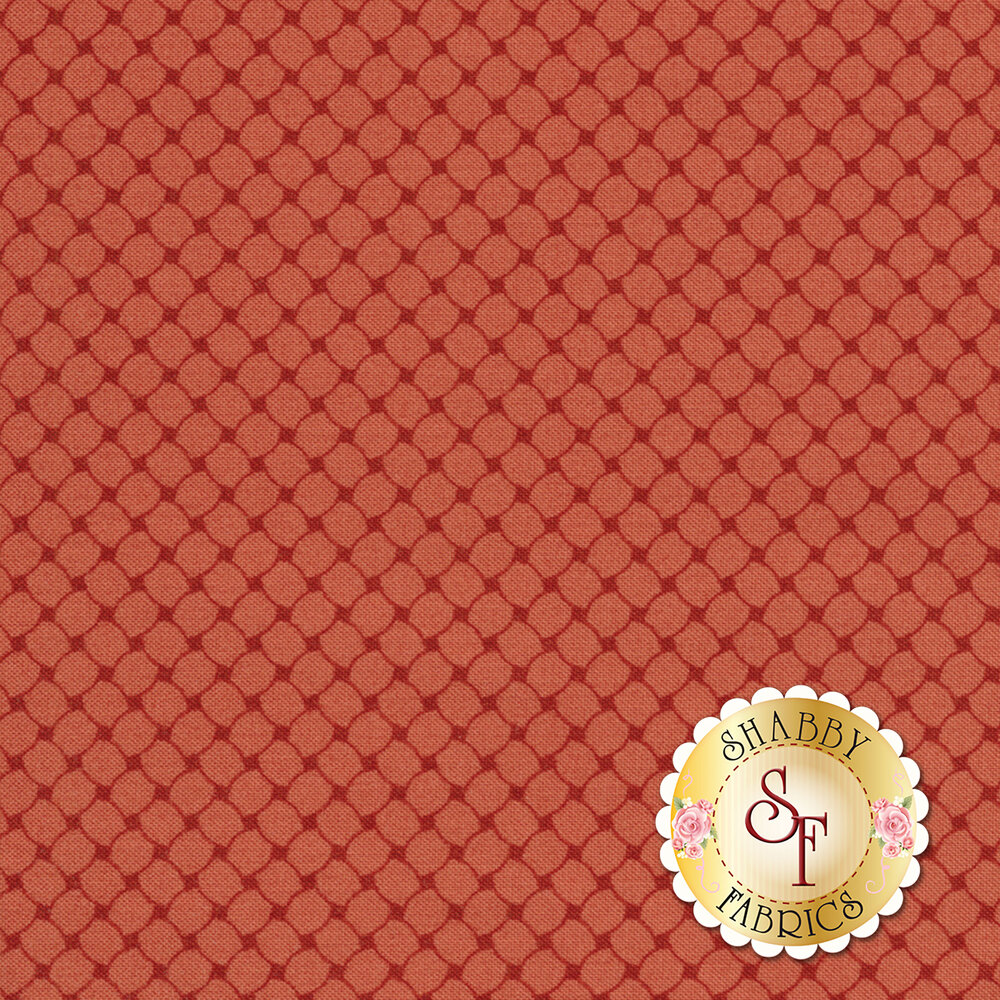 Tonal crosshatch textured fabric on a red background | Shabby Fabrics