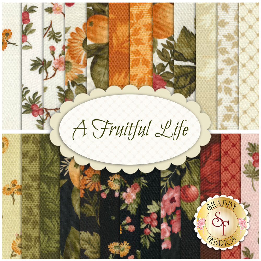 A collage of the 25 fabrics included in the A Fruitful Life 25 FQ Set