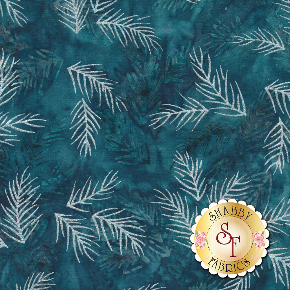 White pine needles with metallic accents on a dark blue and teal mottled background   Shabby Fabrics