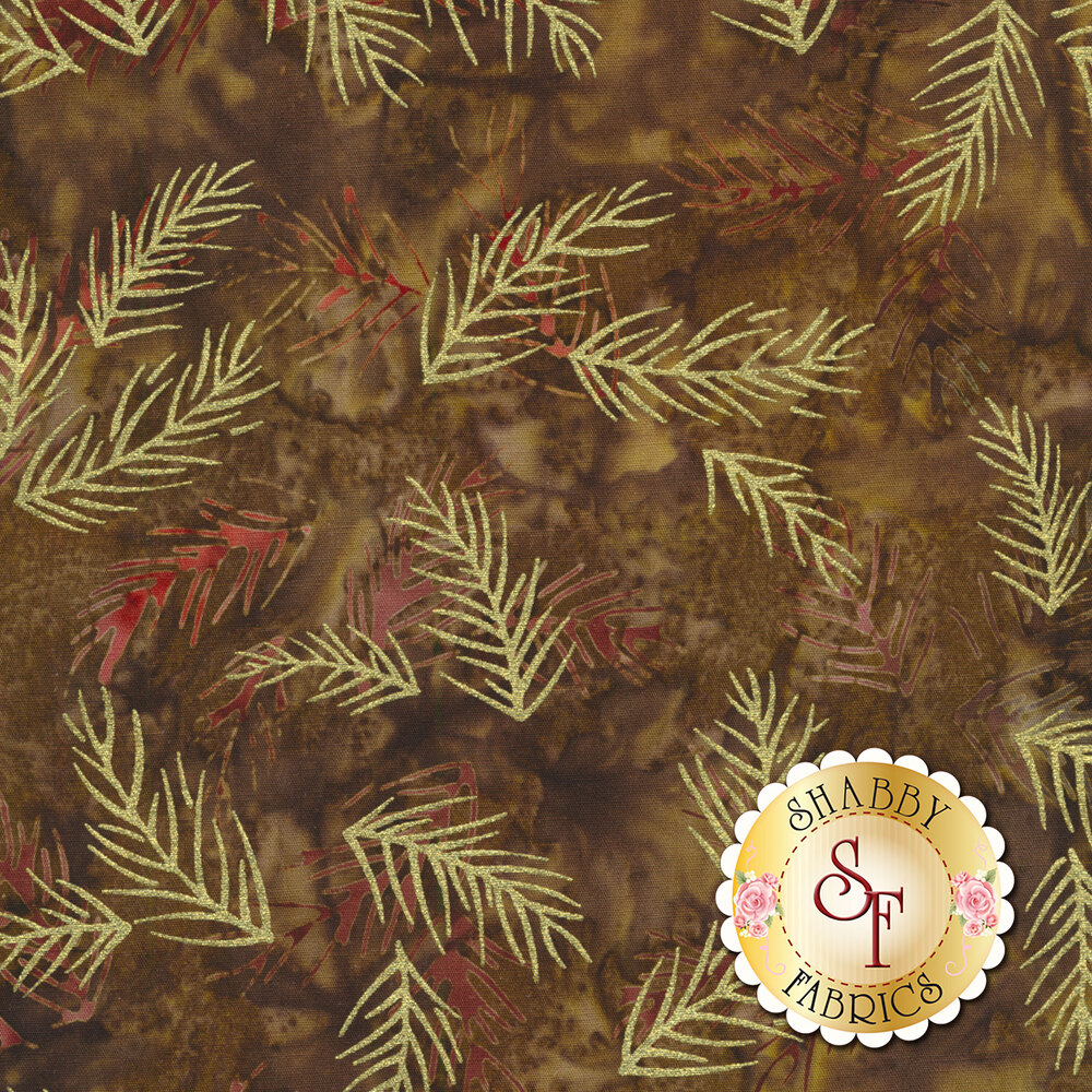 Gold metallic sprigs with brown mottled background | Shabby Fabrics