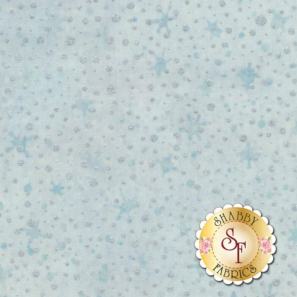 Metallic white spots on a light blue mottled background | shabby Fabrics