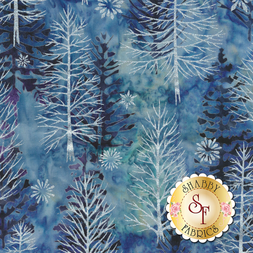 Metallic pine trees and snow flakes on a light blue mottled background | Shabby Fabrics