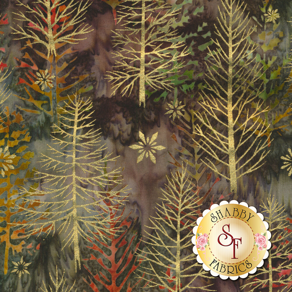 Gold metallic trees and snowflakes on a mottled brown background | Shabby Fabrics