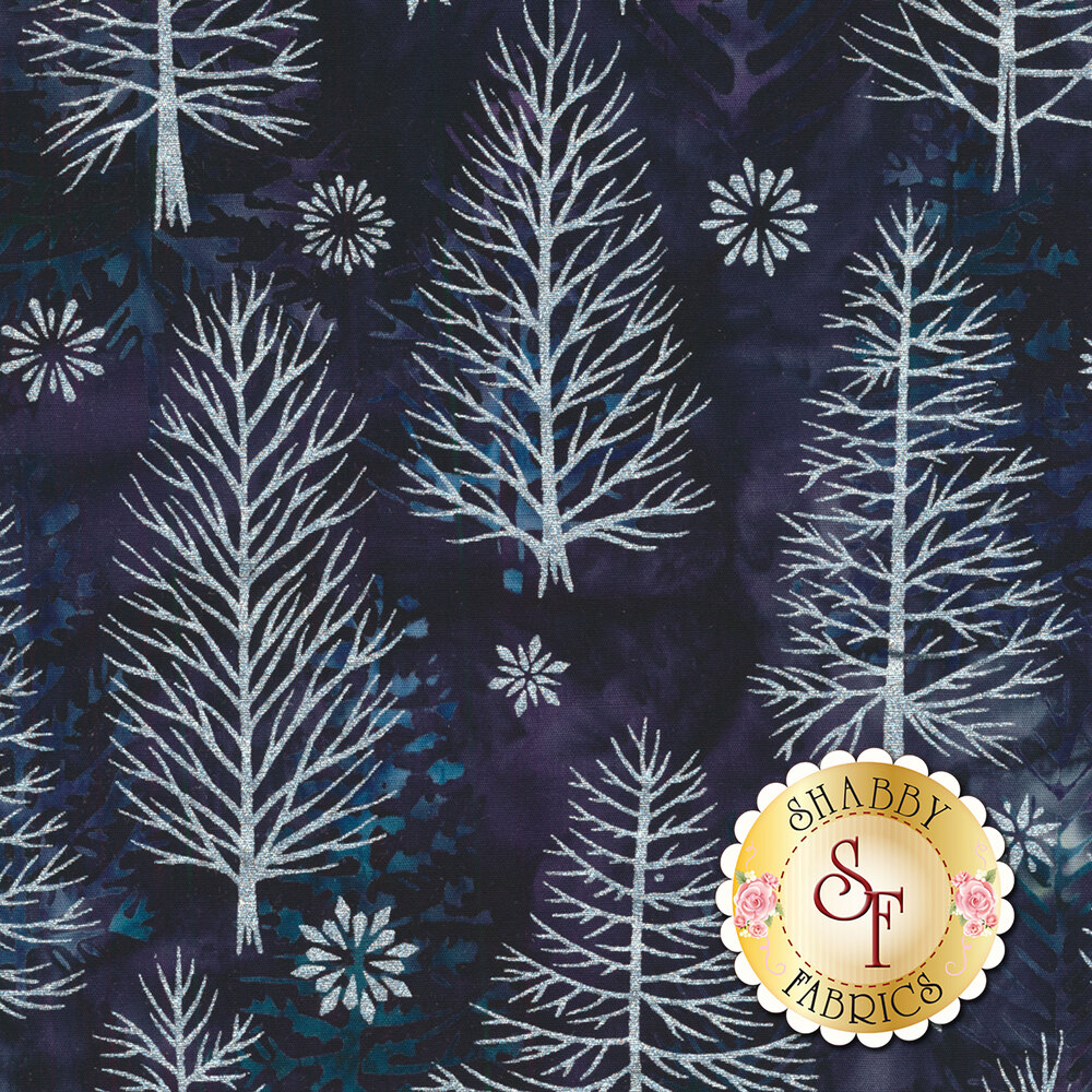 Metallic pine trees and snowflakes on a dark blue mottled background | Shabby Fabrics