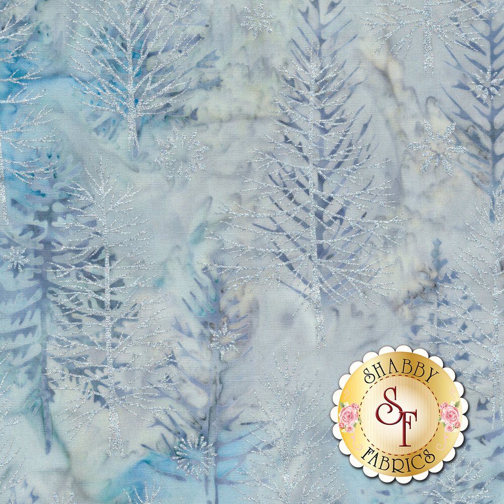 Metallic white pine trees and snowflakes on a light blue and white mottled background