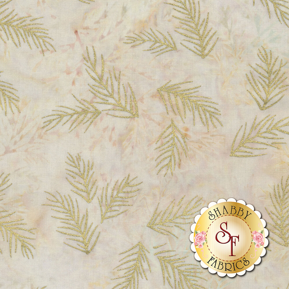 Gold metallic sprigs on a tan mottled background | Shabby Fabrics
