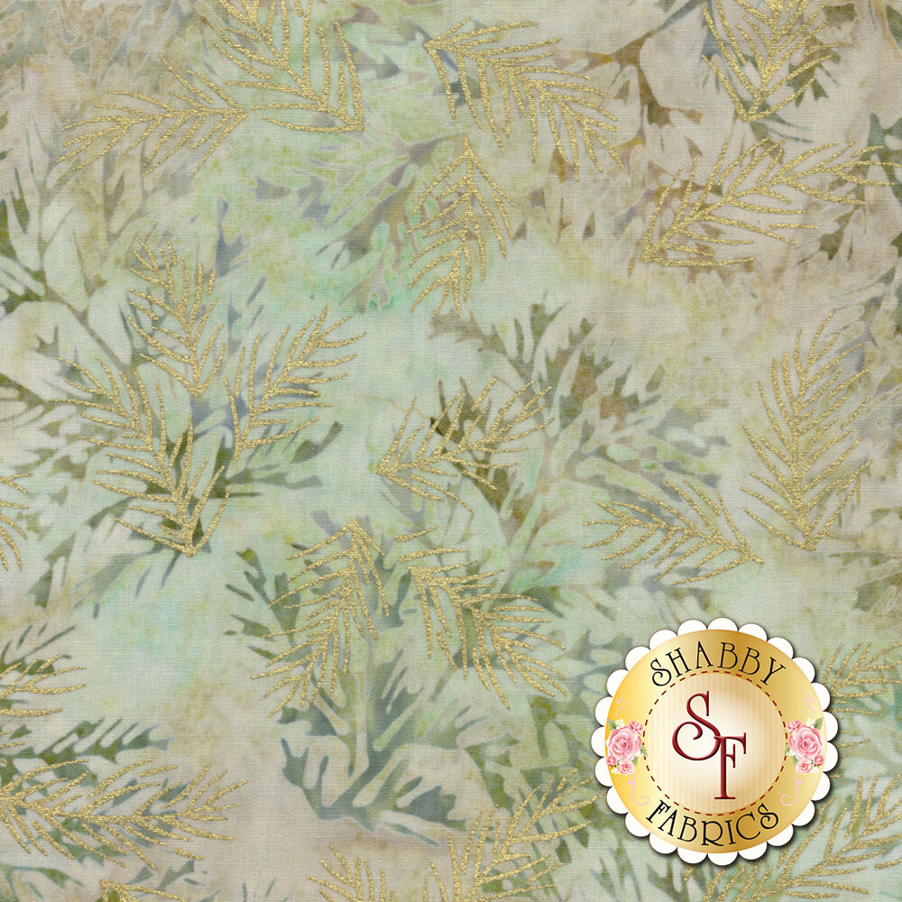 Gold metallic sprigs on a brown and tan mottled background | Shabby Fabrics