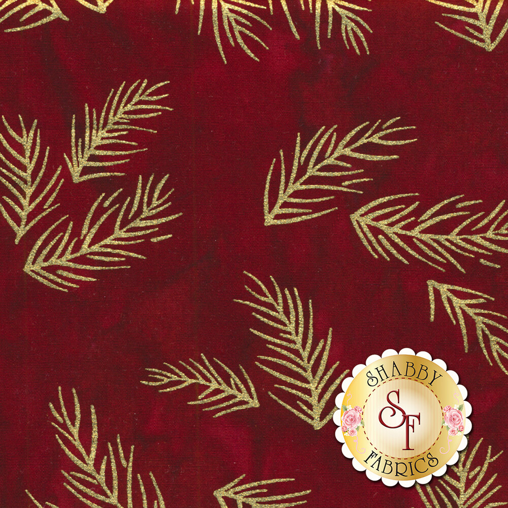 Gold metallic sprigs on a red mottled background | Shabby Fabrics