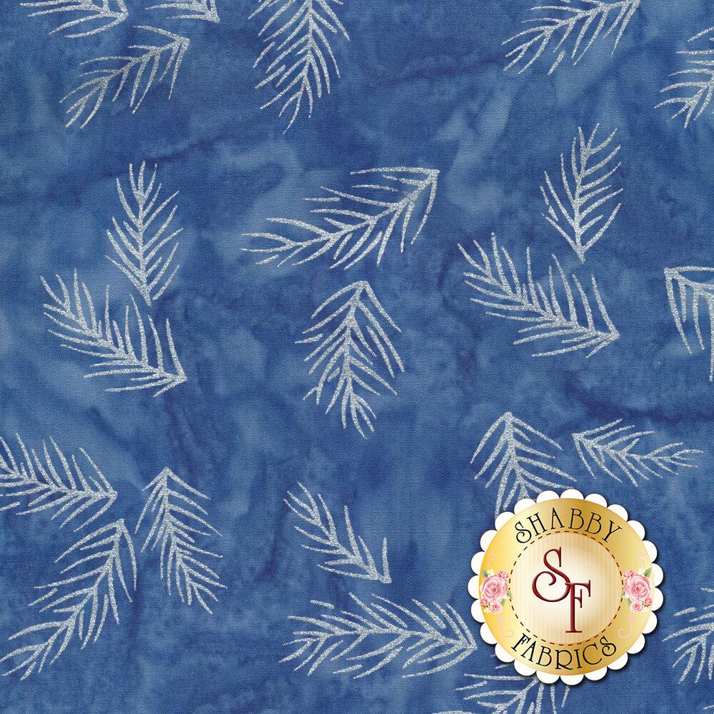 White metallic pine needles on a dark blue mottled background | Shabby Fabrics