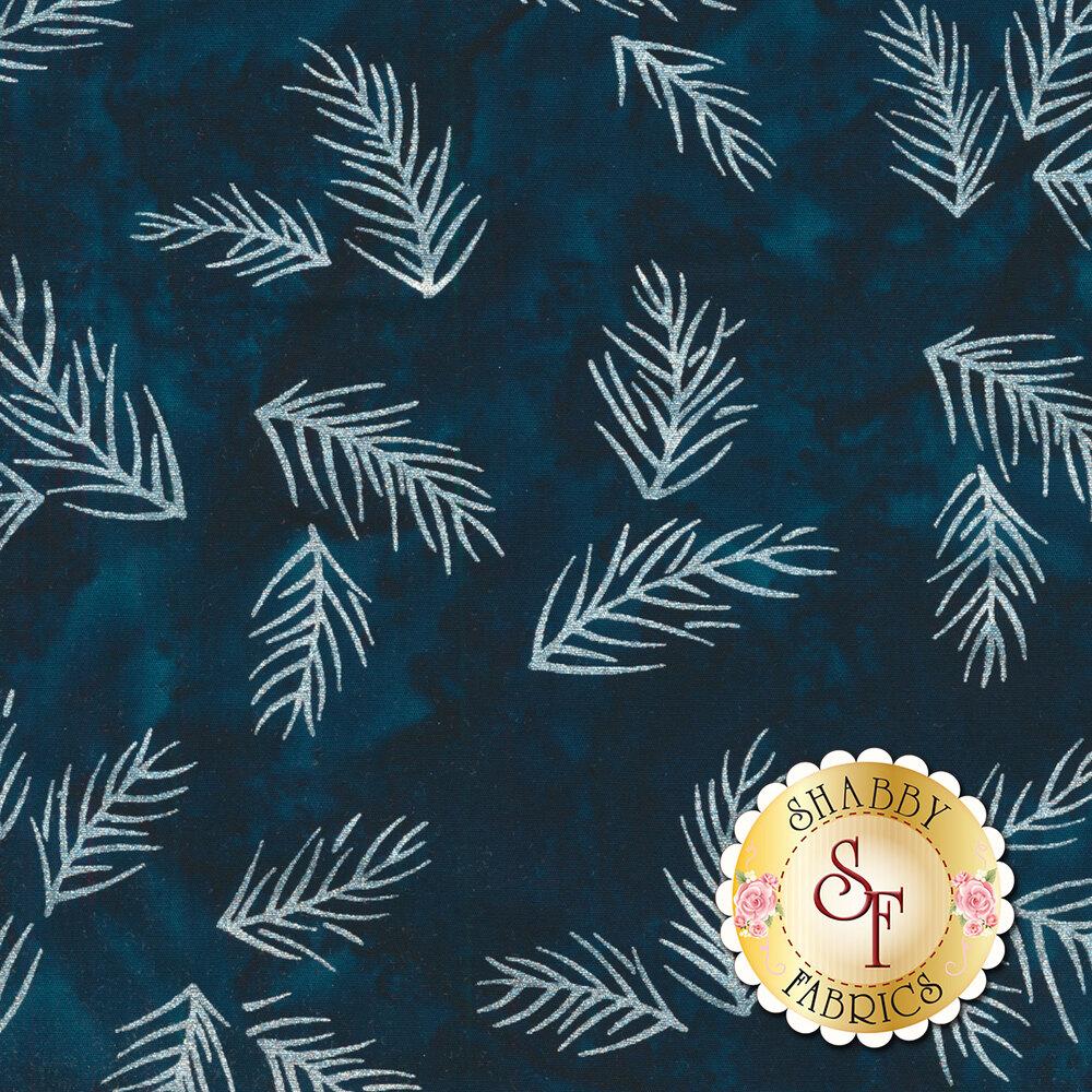 Metallic white pine needles on a dark blue mottled background | Shabby Fabrics