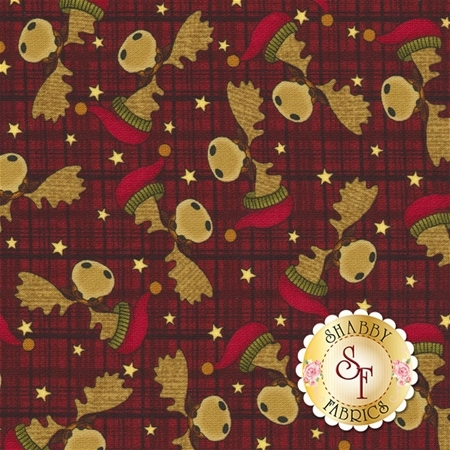 A Moose For Christmas 1541-19 Moose Heads Dark Red by Cheryl Haynes for Benartex Fabrics