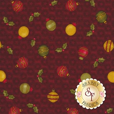 A Moose For Christmas 1544-19 Ornaments Dark Red by Cheryl Haynes for Benartex Fabrics