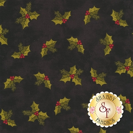 A Moose For Christmas 1545-12 Holly Black by Cheryl Haynes for Benartex Fabrics