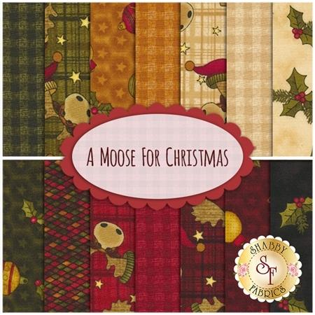 A Moose For Christmas  14 FQ Set by Cheryl Haynes for Benartex Fabrics