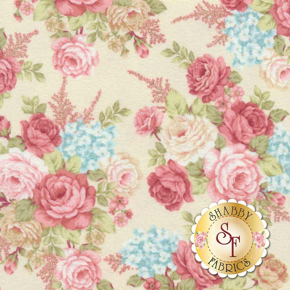 Tossed red and cream roses on a cream background | Shabby Fabrics
