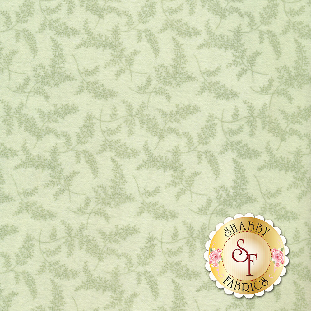 Tonal tossed sprigs on a green background | Shabby Fabrics