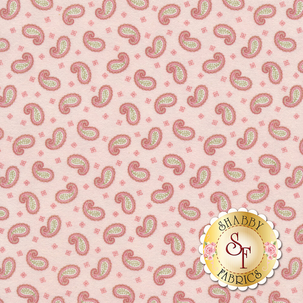 Tossed paisleys on a pink background | Shabby Fabrics