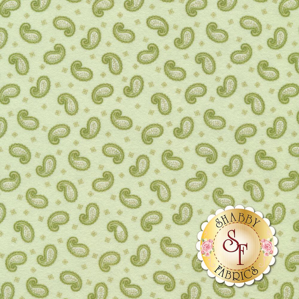 Tossed paisleys on a green background | Shabby Fabrics