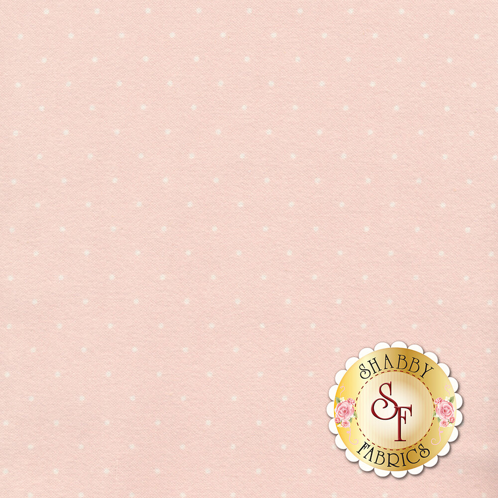 Small white polka dots on a pink background | Shabby Fabrics