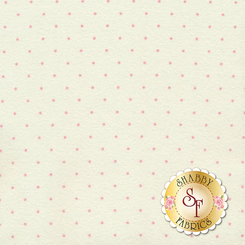 Small pink dots on a white background | Shabby Fabrics