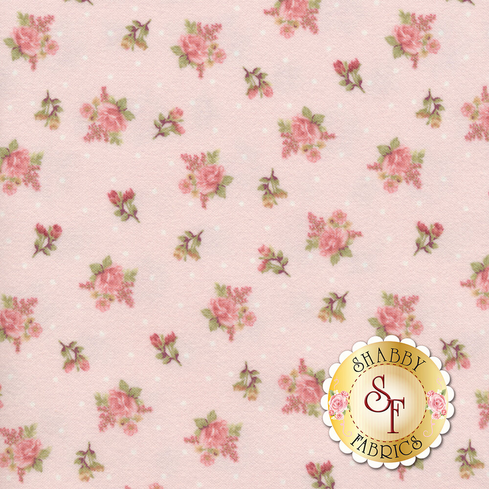 Tossed roses with small white dots on a pink background  | Shabby Fabrics