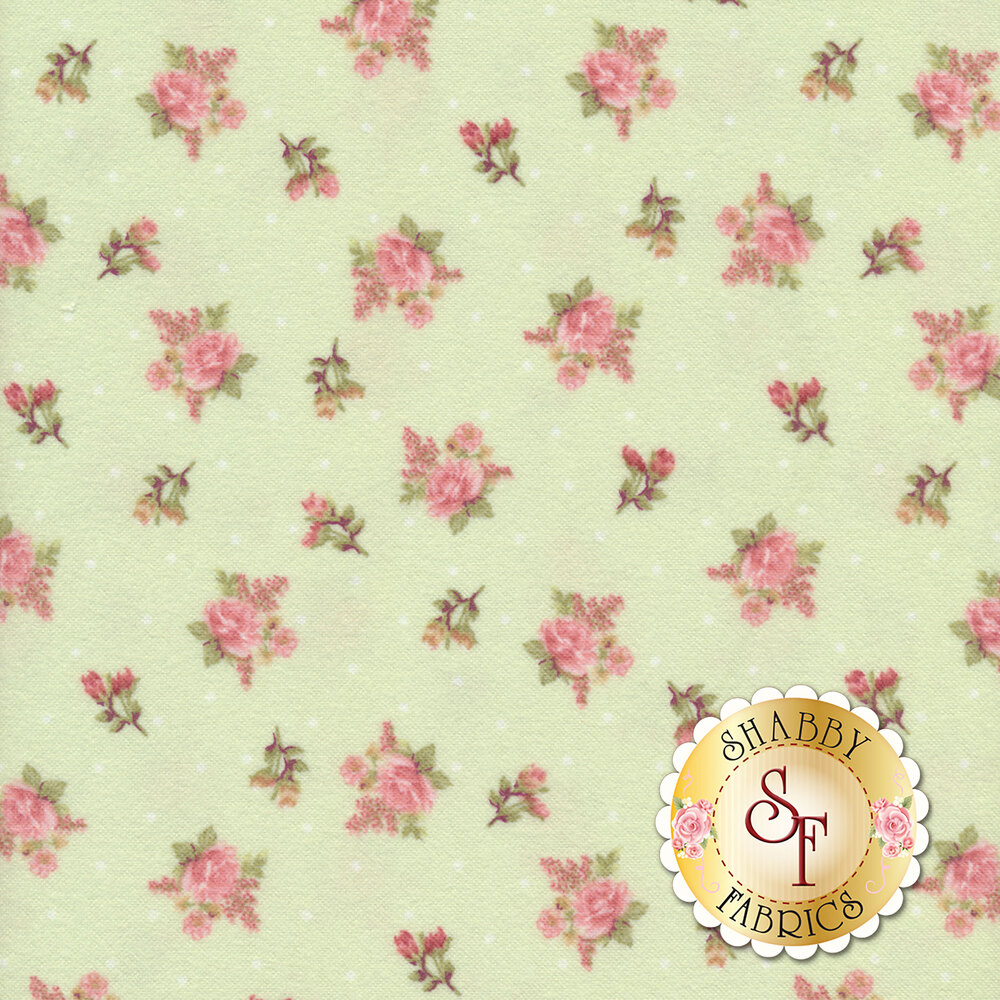 Tossed roses with small white dots on a green background | Shabby Fabrics