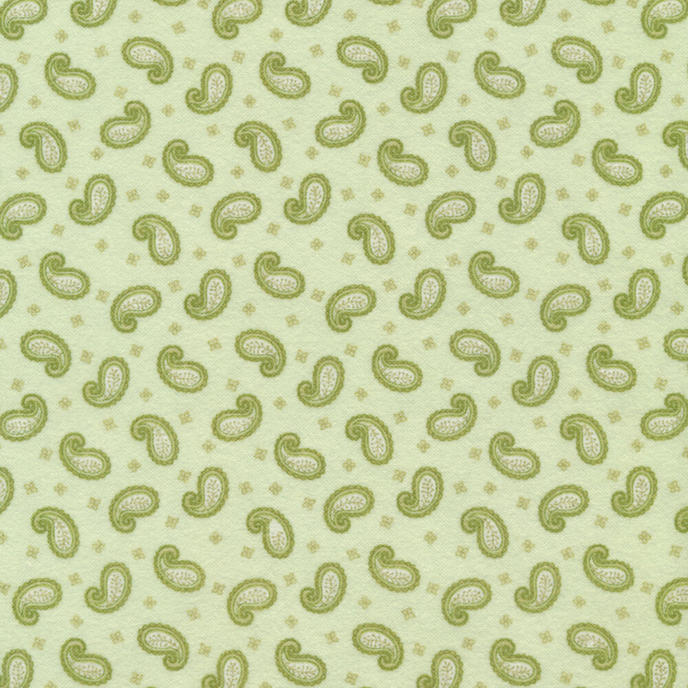 Tossed paisleys on a green background | Shabby Fabrics