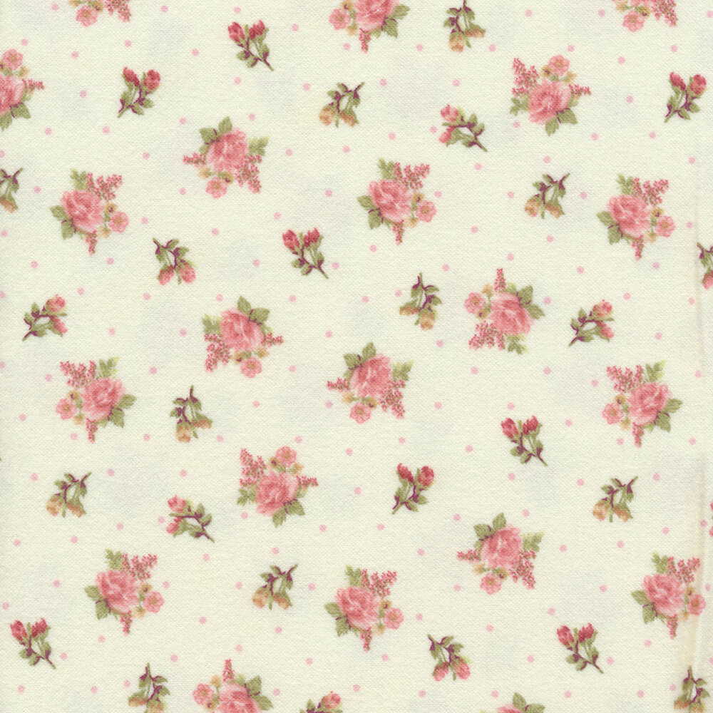 Tossed roses with small white dots on a white background  | Shabby Fabrics