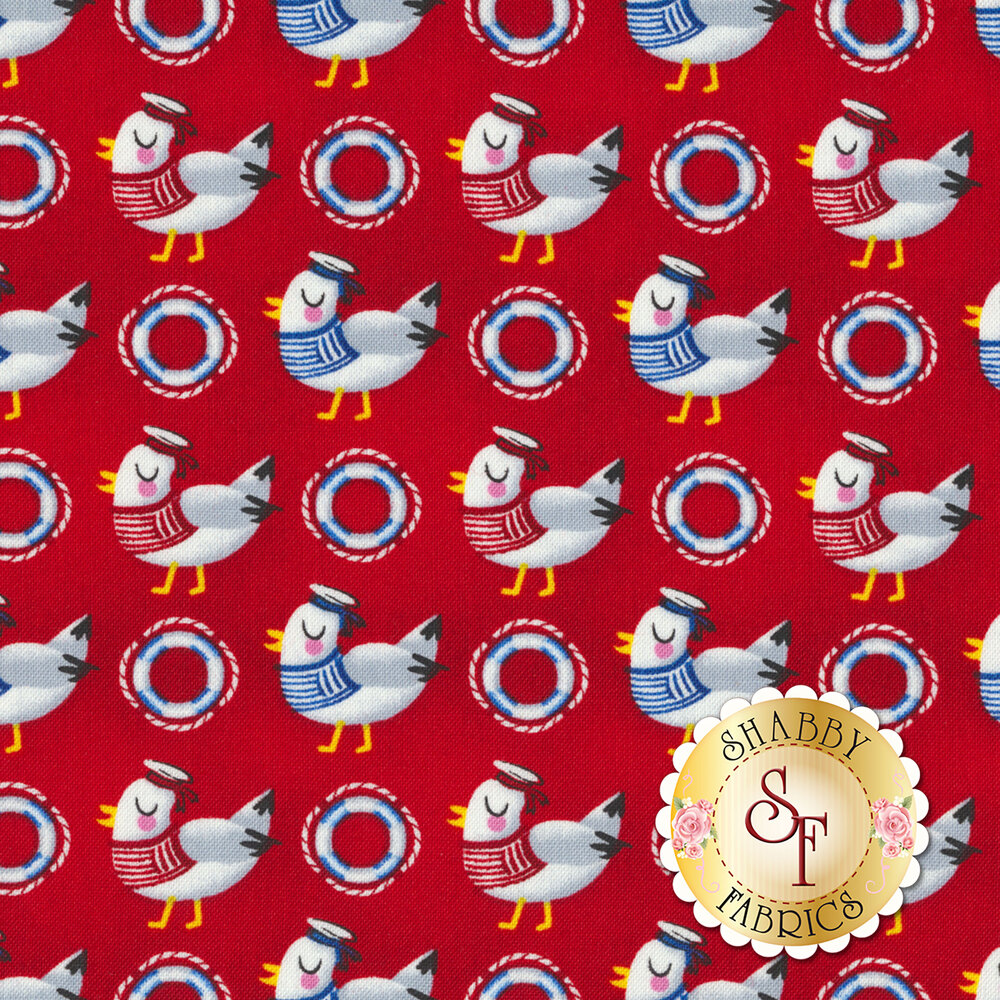 Seagulls with hats and life savers all over a red background