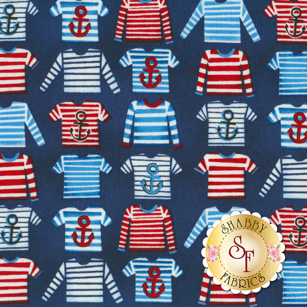 Nautical themed striped shirts all over a blue background