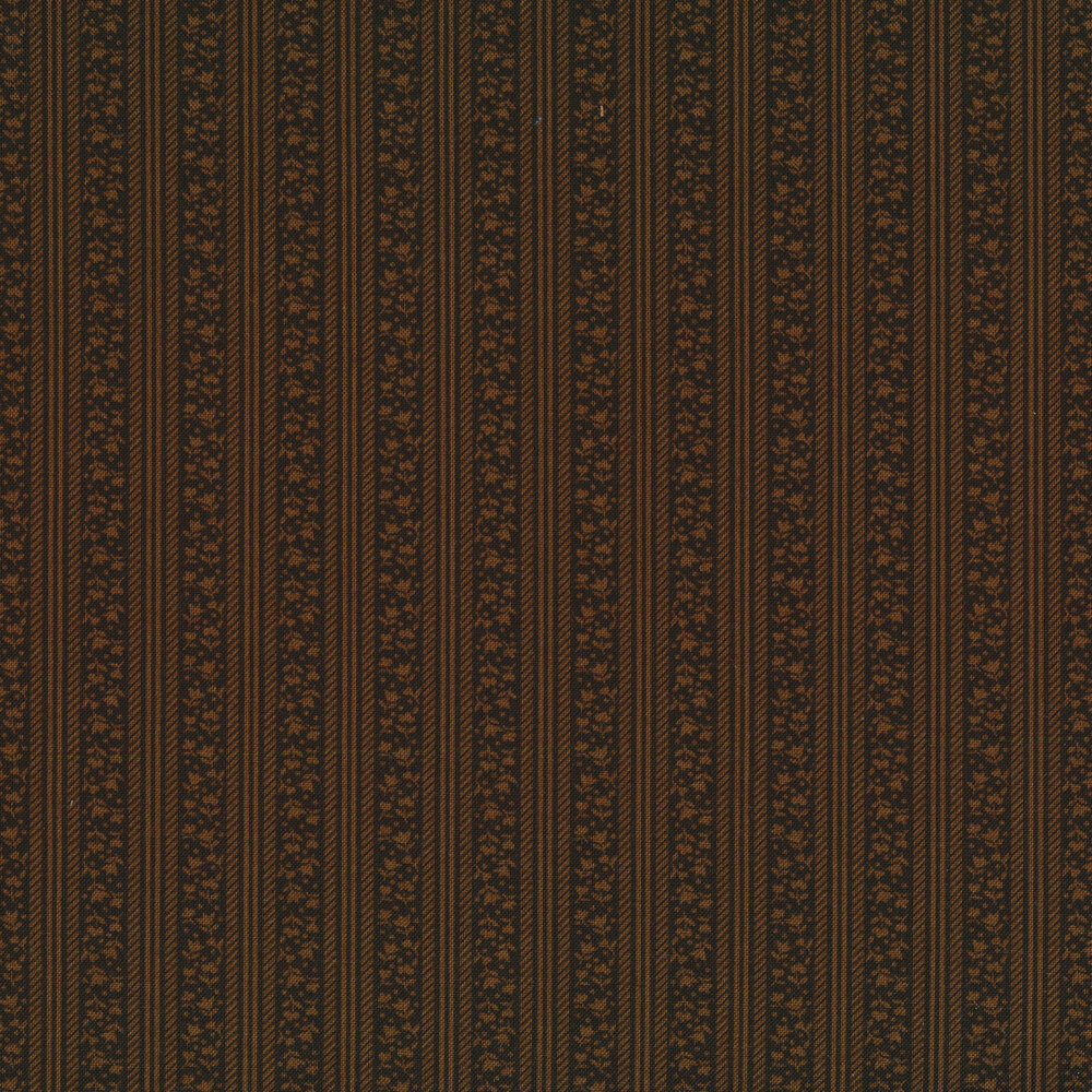 Tonal brown floral stripes | Shabby Fabrics